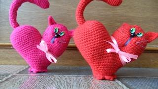 Валентинка Сердце-кот крючком. Подробный МК. Часть 3