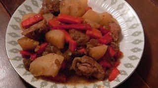 Простой рецепт Картошка с мясом и овощами в мультиварке