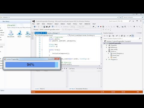 Visual Studio | Design a custom ProgressBar in C#
