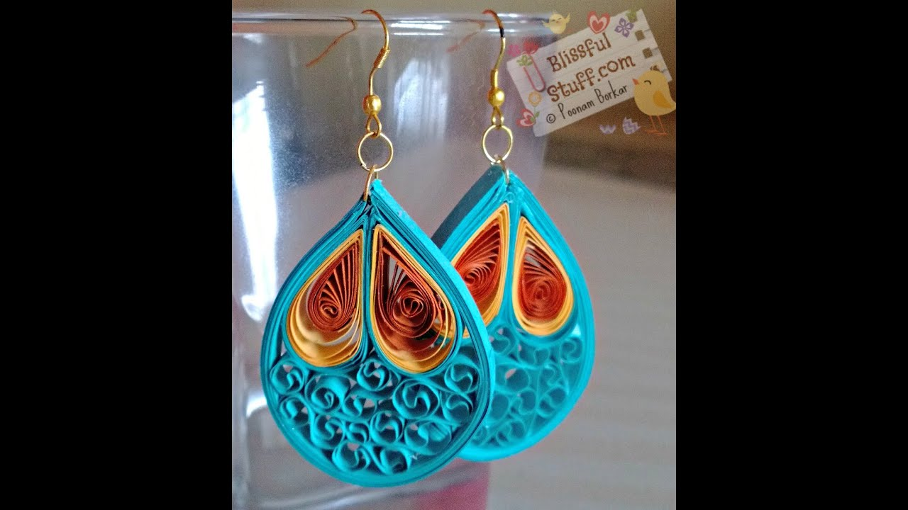 Papercraft DIY - Quilled paper earrings, Paper quilling earrings tutorial