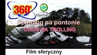 Spinning na pontonie. Okoń na trolling. Film sferyczny. 360 st. Kamera Nikon KeyMission 360. 360°.
