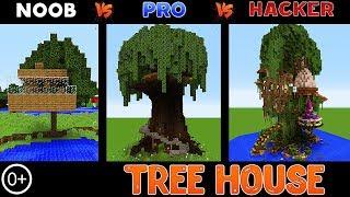 Minecraft: NOOB vs PRO vs HACKER: The Best TREE HOUSE CHALLENGE in Minecraft 13+