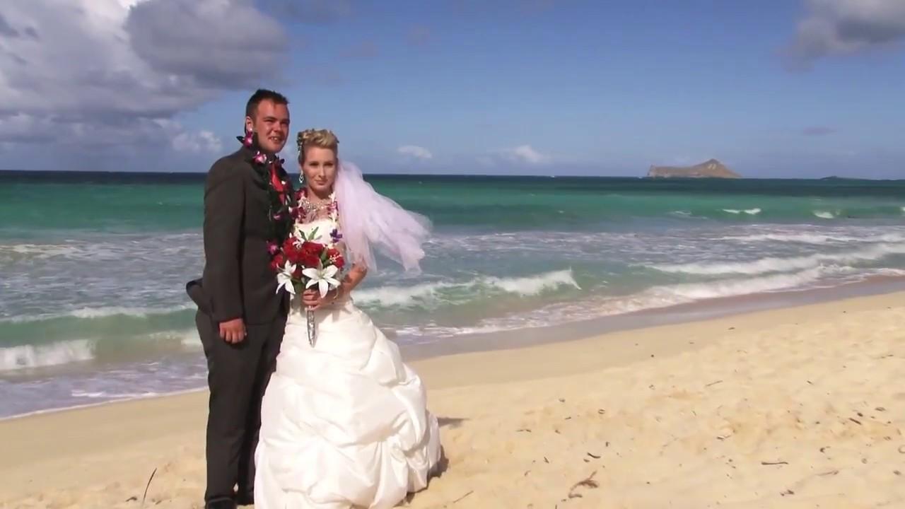 Beach Wedding Ceremony In Waimanalo Bay, Oahu Hawaii