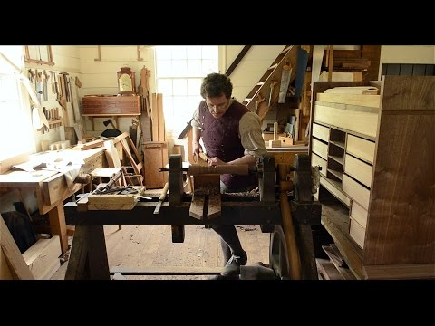 Wood Turning on a Treadle Lathe at Colonial Williamsburg