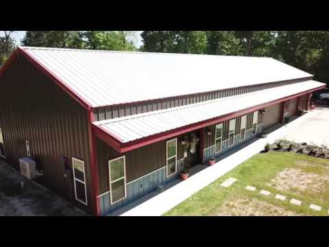 Burnished Slate/Hawaii Blue/Rustic Red Barndominium - Drone Footage (Inside and Outside)