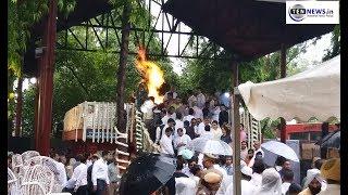 Funeral pyre of Arun Jaitely at Nigambodh Ghat