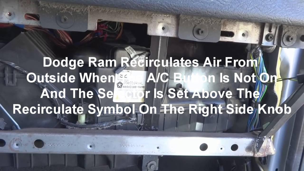 2005 dodge ram a c recirculate blend door how to repair dash removal youtube [ 1280 x 720 Pixel ]