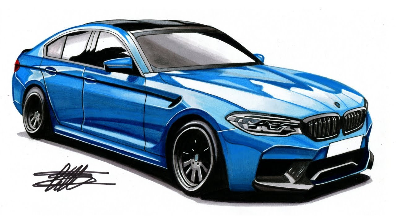 Realistic Car Drawing 2018 Bmw M5 G30 Time Lapse Youtube