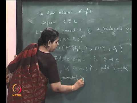 Mod-01 Lec-06 REMOVAL OF UNIT PRODUCTIONS , CHOMSKY NORMAL FORM FOR CFG