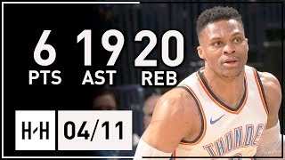 Russell Westbrook MAKES HISTORY! Full Highlights vs Grizzlies (2018.04.11) - 6 Pts, 19 Ast, 20 Reb!