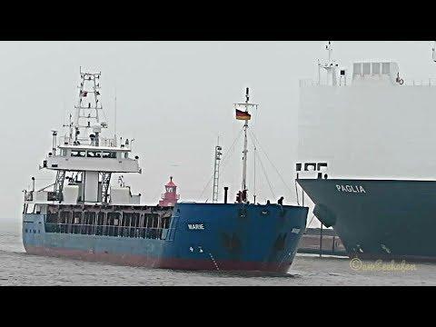 coaster MARIE ONJC IMO 9252929 inbound Emden cargo seaship merchant vessel KüMo