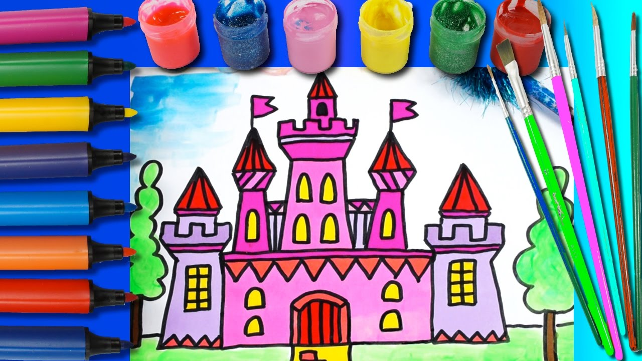 princess castle coloring page for kids learning colors art for