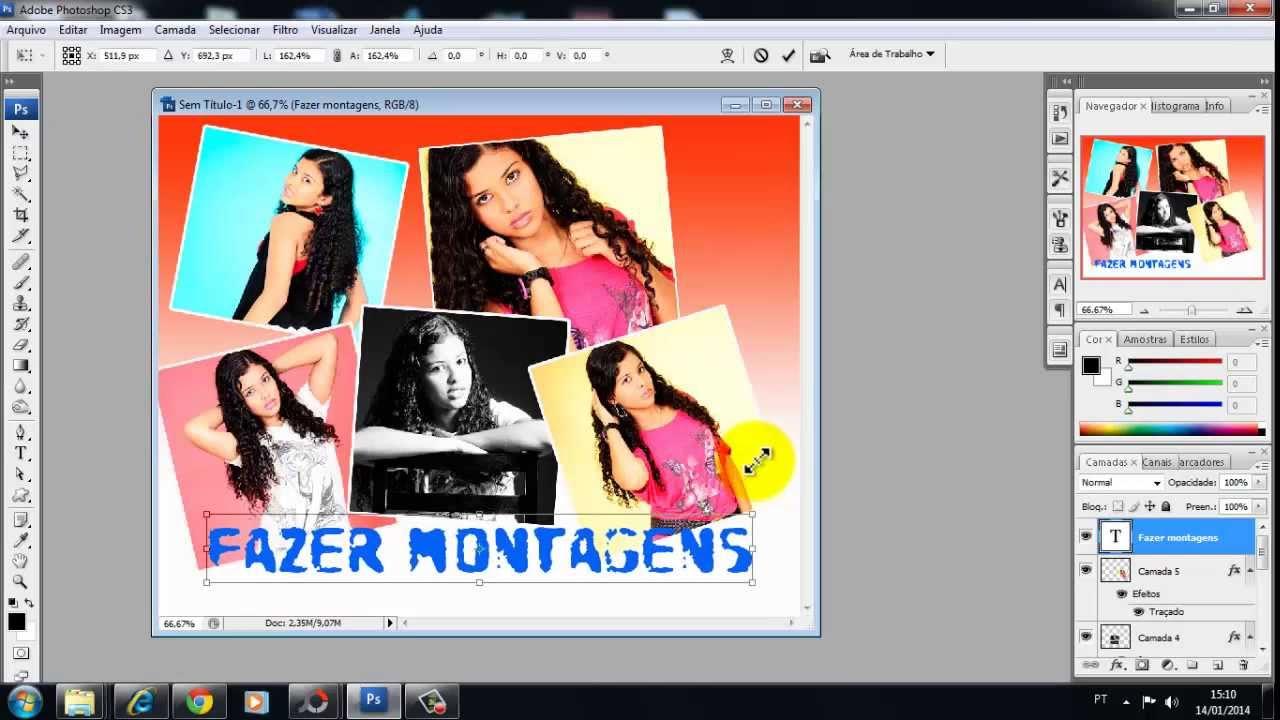 Como fazer painel de fotos no photoshop 12