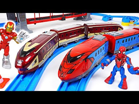 Thomas turned into villain! Go! Marvel Avengers Spier Man, Iron Man train transform! - DuDuPopTOY