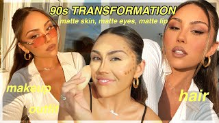 1 Hour 90s TRANSFORMATION: Matte Full Coverage Makeup, Hair & 90s Outfit | Roxette Arisa