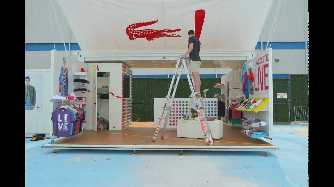 lacoste pop up shop under construction