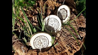 Pyrographing Runes [Using different cultural symbols] 2017 Video