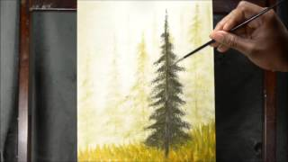 Pine tree in the fog - Oil Painting