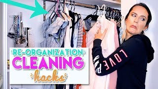 7 Life Hacks for REORGANIZING + CLEANING YOUR ROOM!!