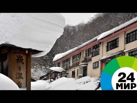 Мощные снегопады привели к остановке поездов на севере Японии - МИР 24