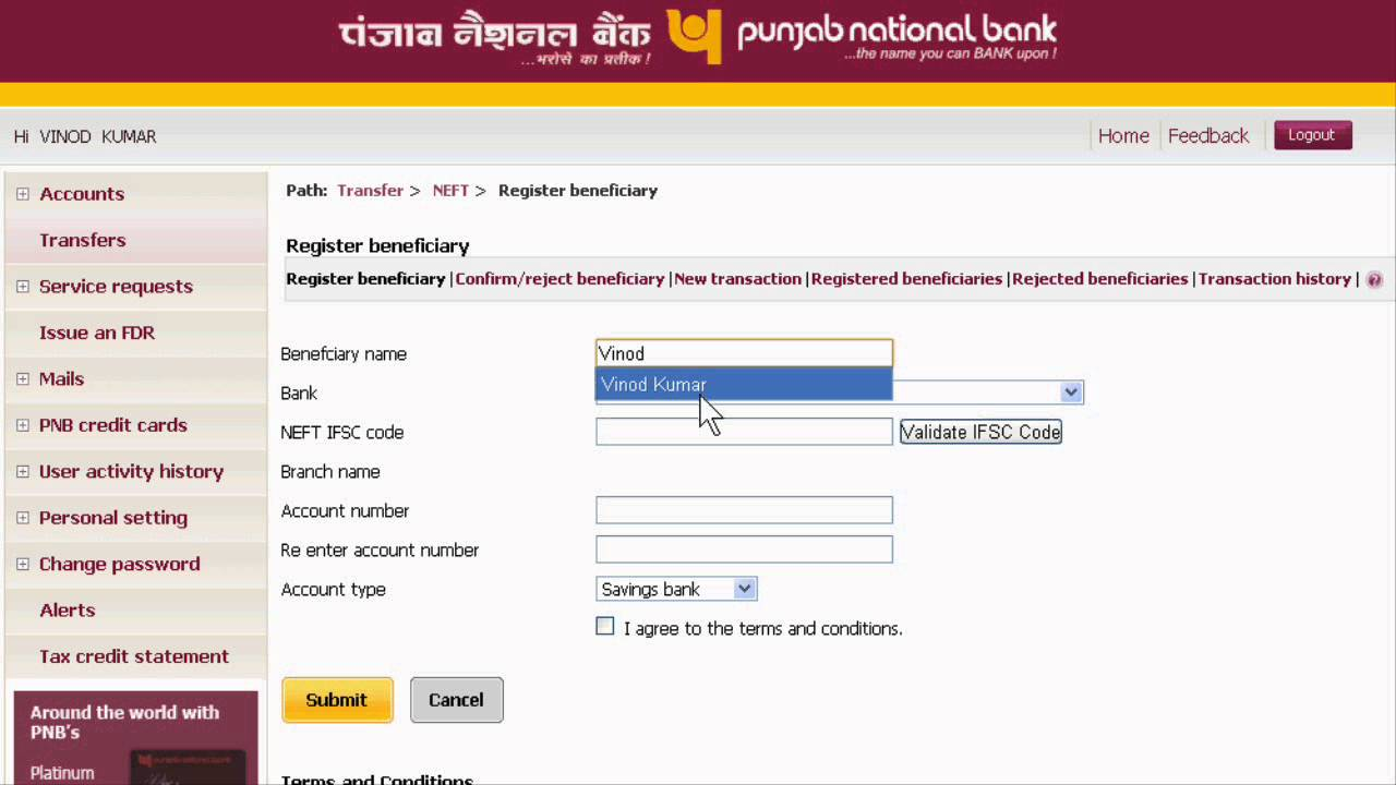 Transfer Money From One Bank Account