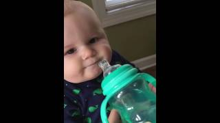 * so funny* Baby drinking water for the first time