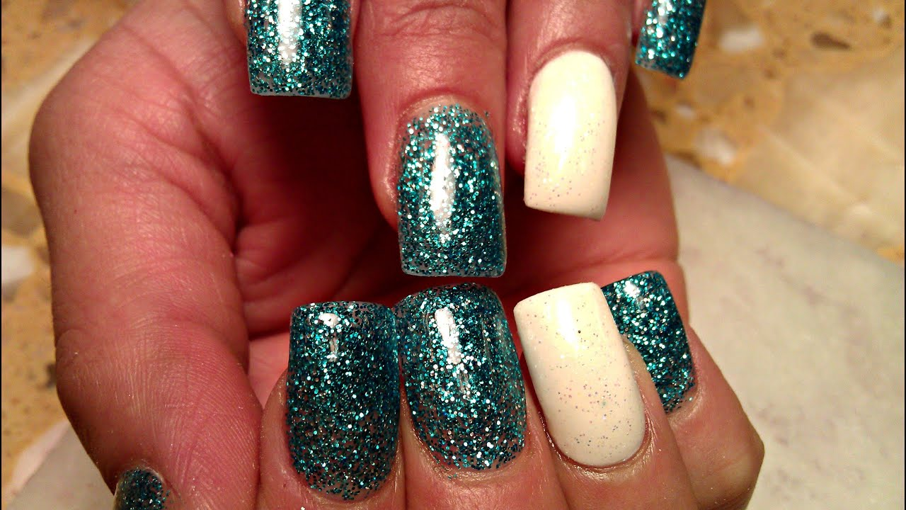 How To White Blue Colored Acrylic Powder Nails