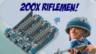 200X ALL RIFLEMEN ATTACKS |  Boom Beach |  NO MEDICS CHALLENGE!