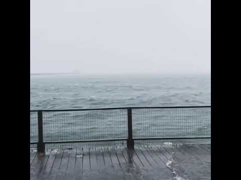 Nor\u0027easter High tide spills onto deck in Provincetown - YouTube