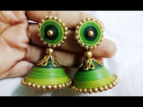 quilling earrings jhumka making - How to make quilling earrings jhumk