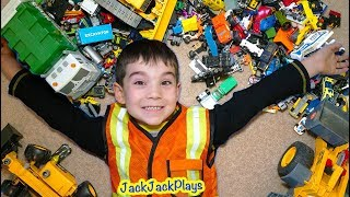 Pretend Play Cleanup of Huge Toy Collection using Trucks + Crazy Costumes
