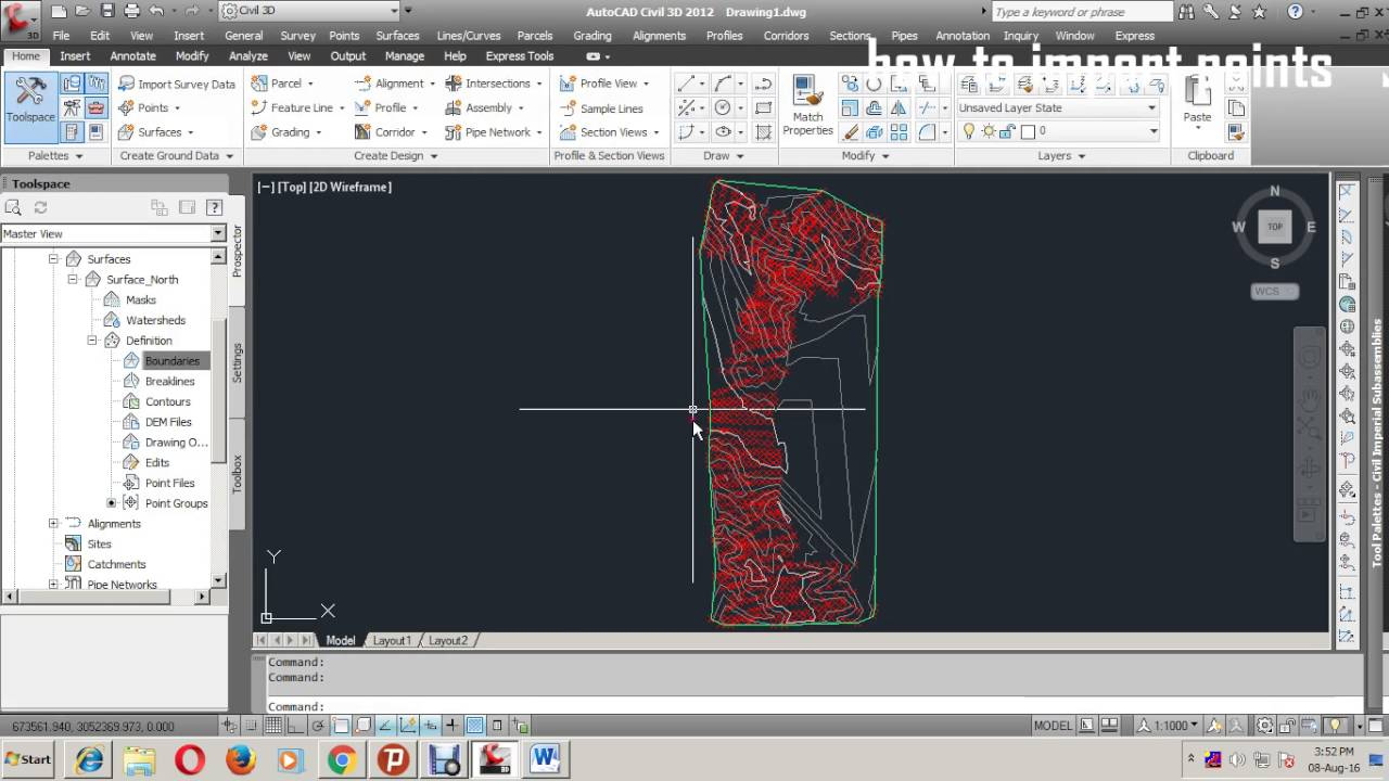 Contour Line Drawing In Autocad : Creat points and surface contour in civil d youtube