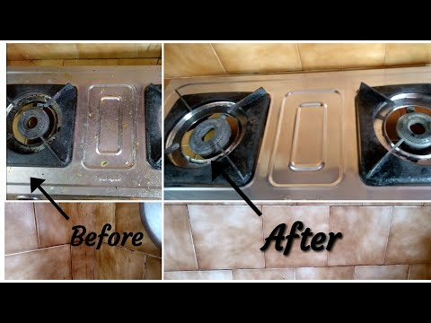 Cleaning Gas stove and Kitchen Tiles easily in 5 minutes #tilescleaning #gasstovecleaning #cleaning