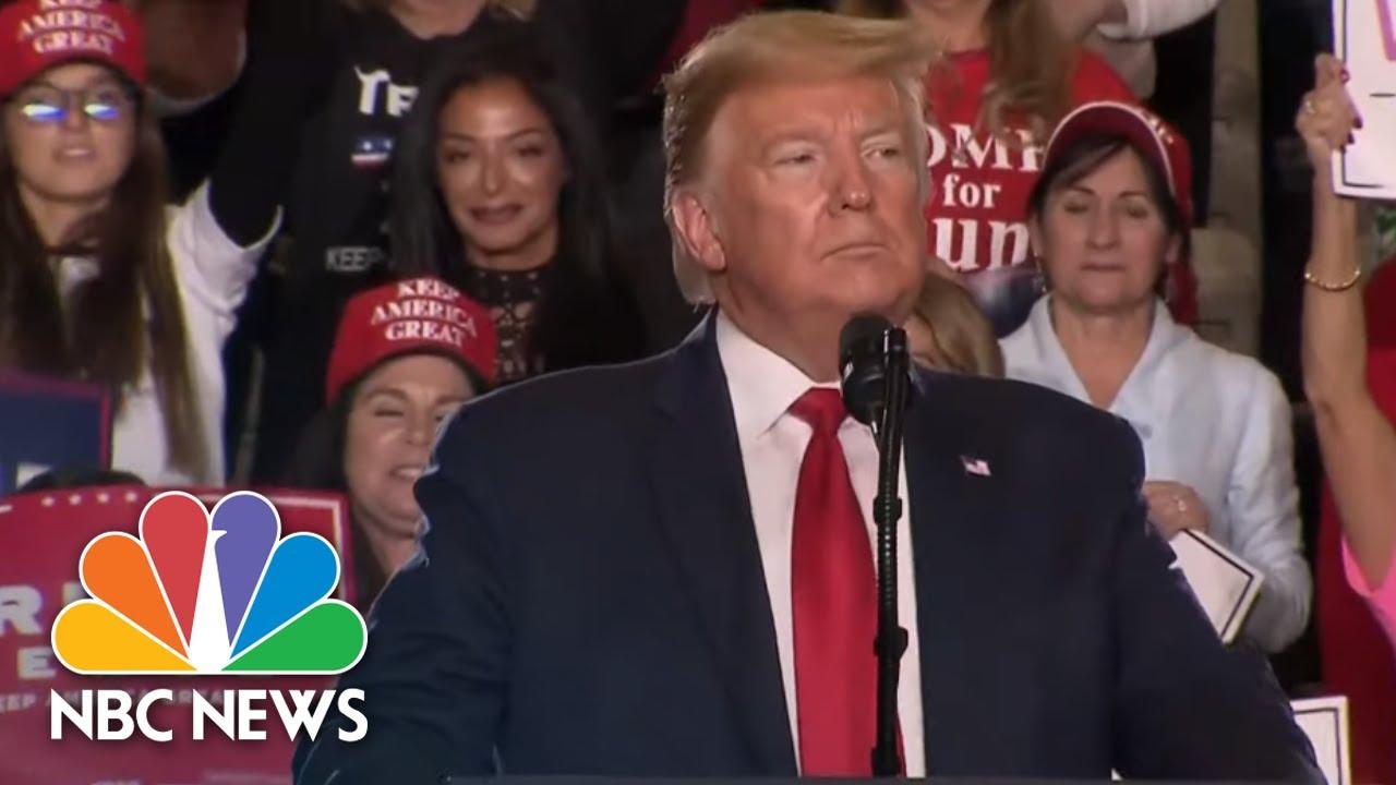 Trump celebra campaña en Nueva Jersey en medio de juicio por juicio político | NBC News (transmisión en vivo) thumbnail