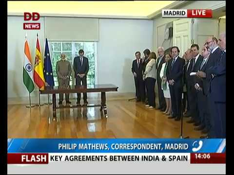 India, Spain Exchange Agreements In Madrid - Youtube