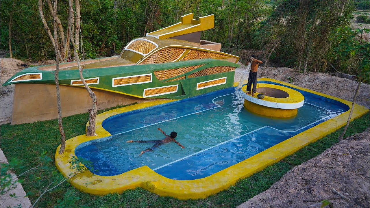 How To Building The Most Creatively Mud Boat House With Beautiful Swimming Pool Lives In Forest