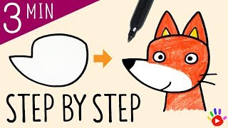 How to Draw a Fox | Drawing Cute Fox | Animal Drawing Tutorial for Kids | Easy & Slow | OKIDOKIDS