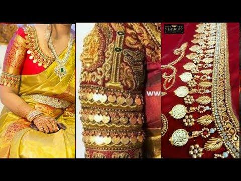Kasu maggam work blouse designs, kasu(coin) work blouses