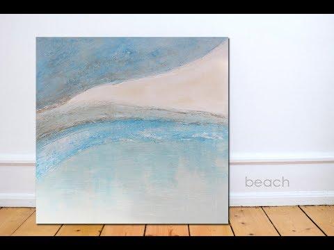 How to Paint Acrylics ART TUTORIAL - DIY Painting Textured Acrylic Modern Art - BEACH - Part One