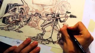 """Drawing """"Jurassic Punk Rock Band"""""""