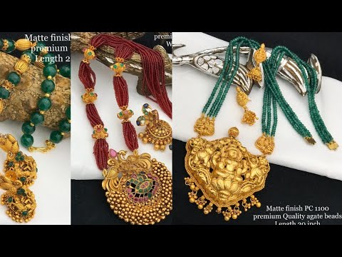 Latest Premium Quality Matti Finish Sugar Beads/colour Crystal/gold Ball Pendant Haram|trending Coll
