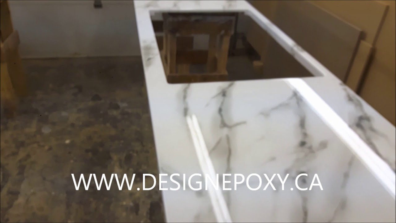 Faux Carrara Marble Epoxy Countertop Youtube