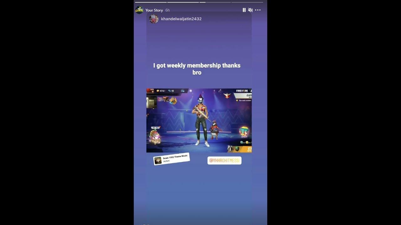 Weekly Membership   Free Fire   Messi Gaming   10 Custom banaya and mil gaya