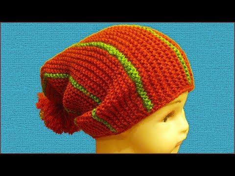 Вязаная шапка бини спицами. Работа Anya, Вязание для детей
