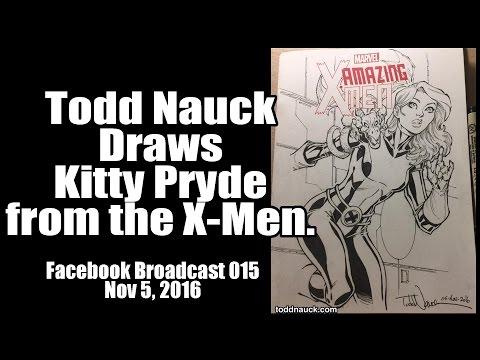 Todd Nauck Draws Kitty Pryde: Line Art. Facebook broadcast.