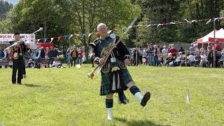Drum Majors Mace O'er the Banner Competition at Drumtochty Highland Games in Scotland 2019