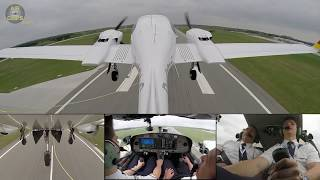 Beautiful Tail-Cam-View: Lufthansa Aviation Training (EFA) DA42 Takeoff from Rostock! [AirClips]