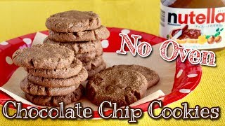 No Oven! Nutella Chocolate Chip Cookies (5 Ingredients Frying Pan Recipe) | OCHIKERON