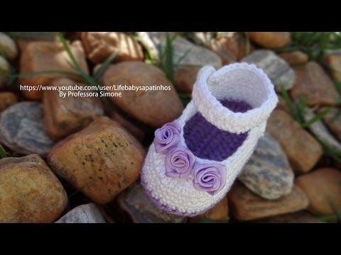 Passo a passo Sapatinho de Crochê para Bebê modelo Daminha - Professora Simone