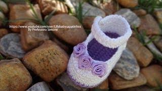 Repeat youtube video Passo a passo Sapatinho de Crochê para Bebê modelo Daminha - Professora Simone